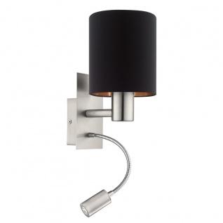 EGLO PASTERI Textil Wandlampe E27 schwarz, kupfer mit Led Leselampe
