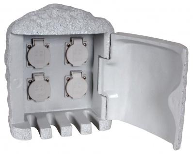 Außen Steckdosenstein 4-fach grau Näve IP44 max. 3600W 16A