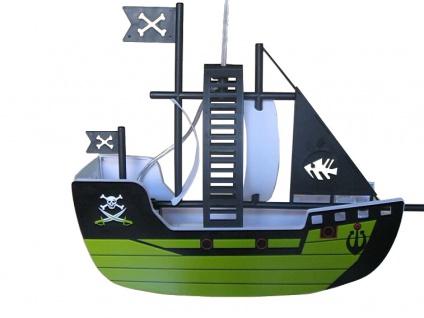 Jens Stolte Boat Kinder Pendelleuchte E27 bunt, grün Piratenschiff