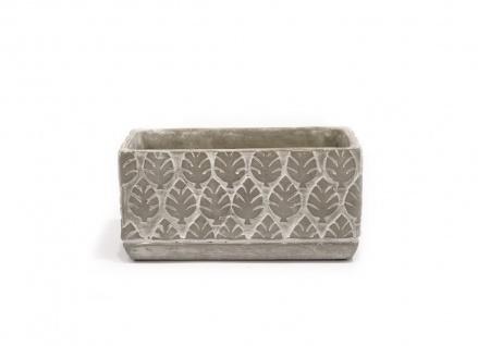Pflanzschale Beton Optik grau Blätter 3D Haptik rechteckig 20x9, 5x9, 5cm