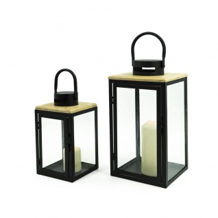 Laterne 2er Set Metall/Kiefernholz quadratisch LBH 17, 5×17, 5x40cm, 13, 5×13, 5×28, 5cm