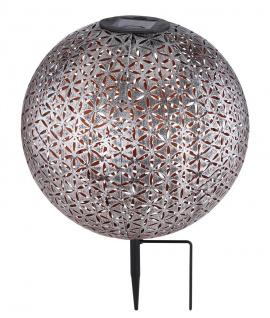 LED Solarleuchte Kugel aus Metall mit Dekorstanzungen Lebensblume silbergrau antik - goldfarbend 270mm von Globo