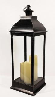 Laterne Kunststoff schwarz mit LED Kerzen für Außen Batteriebetrieben 70cm