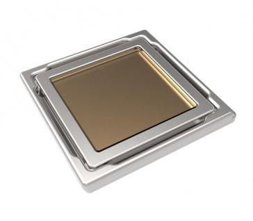MERT Design Bodenablauf Flach mit 110 x 110 mm Spezial Glasabdeckung Beige