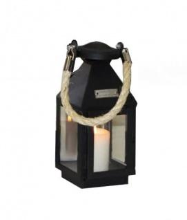 Laterne schwarz aus Metall Living Style mit Kordel Griff 11x10x24cm
