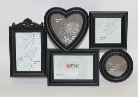 Bilderrahmen im Romantik-Look für 5 Fotos schwarz aus Kunststoff 45x3x30cm