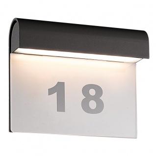 LED Hausnummernleuchte anthrazit Näve IP54 396lm 6W inkl. Hausnummern