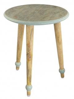 bhp Beistelltisch aus Holz, Rund mit geschnitzter Tischplatte mint Palmblätter