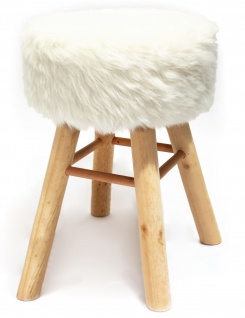 Barhocker Holz mit Kurzhaar- Kunstfellbezug weiss runde Sitzfläche DH: 33x70cm