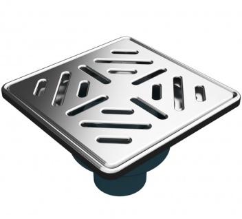MERT Bodenablauf für ebenerdige Dusche Edelstahlrost Stribes senkrechter Ablauf 150 x 150 mm