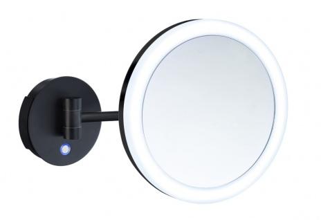 Smedbo Outline Kosmetikspiegel schwarz mit Dual LED-Beleuchtung PMMA rund FK485EBP