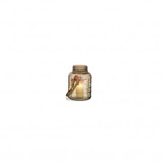 Deko Windlicht Glas S mit Jute-Kordel u. Quadrat Prägung 14x20cm