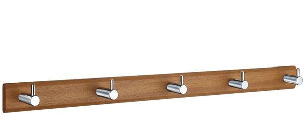 Smedbo Hakenleiste Holz/Edelstahl gebürstet 5-Fach Holz gebeitzt B1071M