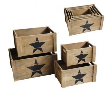 Holzkisten hellbraun 4er Set rechteckig Aufdruck Stern 41x31x20cm 26x16x14cm