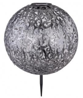 LED Solarleuchte Kugel mit Dekorstanzungen aus Metall silber metallic 400mm von Globo