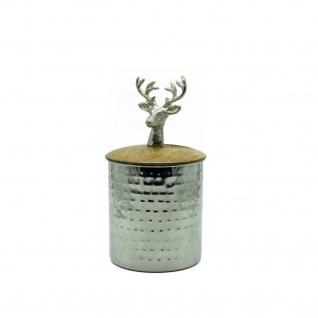 Metalldose rund 10×19 cm mit Mangoholzdeckel und Hirschkopf naturbelassen silber