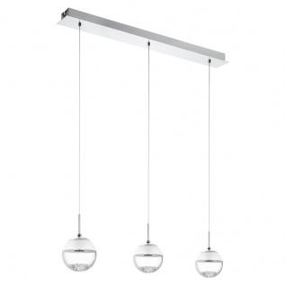 EGLO MONTEFIO 1 LED Hängeleuchte, 3-flg. chrom, klar/satiniert