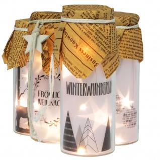 Deko LED Flaschenlicht 4x12cm Glas mit Motiv Papierhaube Kordel mit Holzstern batterieb.