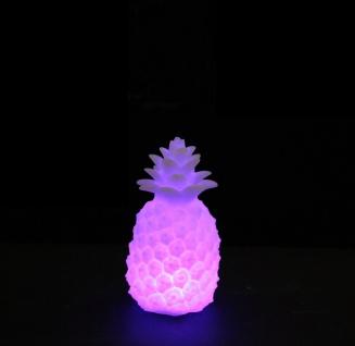 Ananas Deko Leuchte aus Kunststoff weiß LED Farbwechsel batteriebetrieb