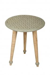 bhp Beistelltisch aus Holz, Rund mit geschnitzter Tischplatte mit Muster mint