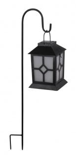 LED Solarlampe Laterne mit Erdspieß u. Feuereffekt zum Aufhängen von Globo