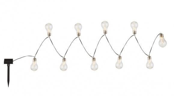 Globo 10XLED Solarleuchte Lichterkette Glühbirne, Kunststoff silbergrau, 10xLED