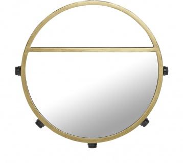 PR Home Bea Wandspiegel matt gold aus Metall 45cm rund mit Beleuchtung u. Ablage 5x E14