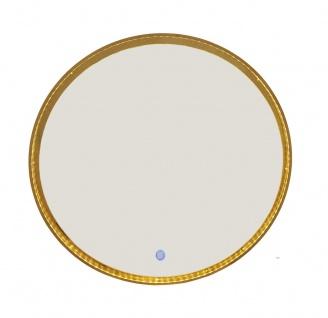 bhp LED Spiegel, Metallrahmen, gold, 2 Lichtstufen, rund, vertikal und horzontal hängbar