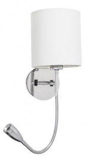 Rabalux Larkin LED Wandleuchte 1x E27 chrom, natural rund mit Lesearm