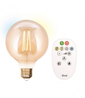 Lutec LED Filament Leuchtmittel Amber E27 806lm 2200-5500K 10x10x16cm mit Fernbedienung