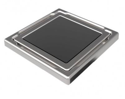 MERT Design Bodenablauf Flach mit 110 x 110 mm Spezial Glasabdeckung anthrazit