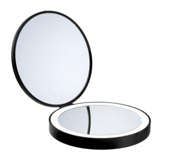 Smedbo Outline Lite Reise Kosmetikspiegel schwarz LED mit 7- Facher Vergrößerung und Normale Ansicht FB627