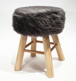 Hocker Holz mit Langhaar- Kunstfellbezug grau runde Sitzfläche DH: 30x42cm