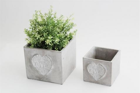 Pflanztopf Beton Optik 2er Set grau-weiß Herzdekor 3D-Haptik quadratisch DH 17, 5×15.5cm und 12, 5x11cm