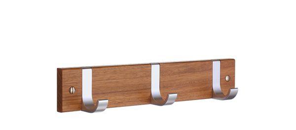 Smedbo Hakenleiste Holz/Aluminium 3 Fach Holz gebeitzt B1075
