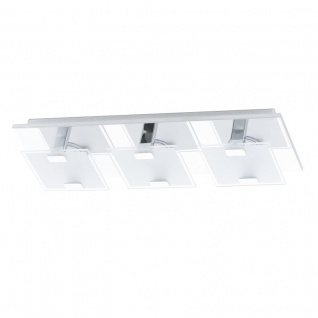 EGLO VICARO LED Wand & Deckenleuchte, 3-flg. chrom, satiniert-klar