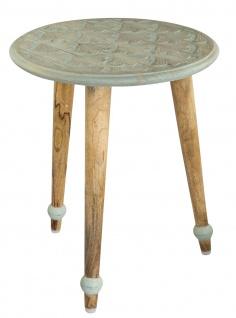 bhp Beistelltisch aus Holz, Rund mit geschnitzter Tischplatte mint