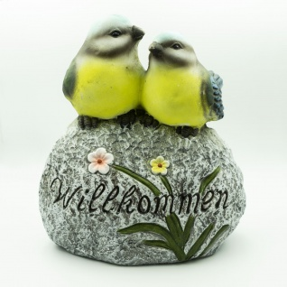 Dekostein mit Vogelpaar und Willkommen-Aufschrift Keramik bemalt LBH 18x31x32cm