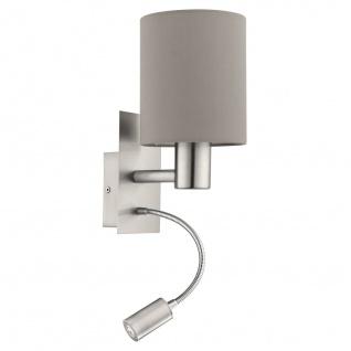 EGLO PASTERI Textil Wandlampe E27 taupe mit Led Leselampe