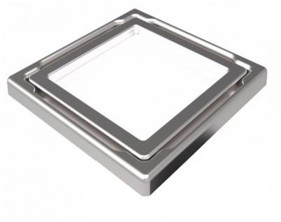 MERT Design Bodenablauf Flach mit 110 x 110 mm Spezial Glasabdeckung weiss