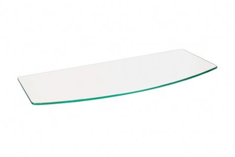 bhp Glas-Wandregal, gebogen 0, 8mm Klarglas, ohne Wandhalterungen