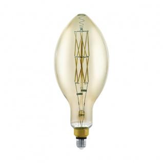 EGLO LED Leuchtmittel E27 E140 8W 600lm 3000K schwarz-transparent dimmbar 140x340mm