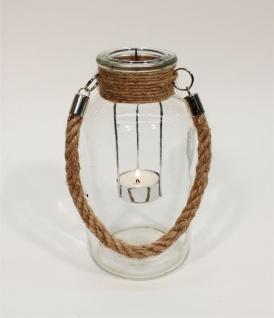 Windlicht Glas klar mit Jute Henkel für Teelichter
