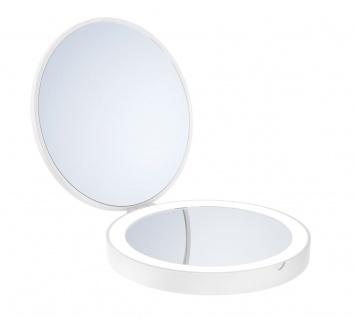 Smedbo Outline Lite Reise Kosmetikspiegel weiss LED mit 7- Facher Vergrößerung und Normale Ansicht FX627