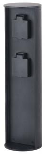 Lutec Stromverteiler Socket Steckdosensäule anthrazit IP44 10x40cm mit 2 Steckdosen