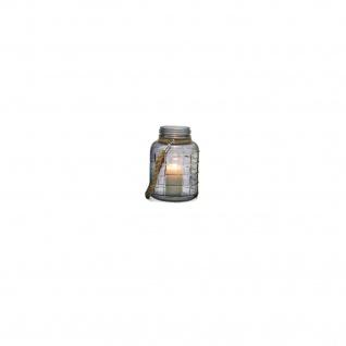 Deko Windlicht Glas S mit Jute-Kordel u. Quadrat Prägung 14x20cm - Vorschau