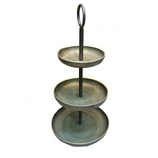 Deko Etagere Metall goldfarben gebürstet rund Vintagestil 3 Etagen 30x30x61cm