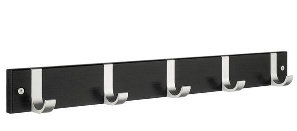 Smedbo Hakenleiste Holz/Aluminium 5-Fach schwarz BB1076