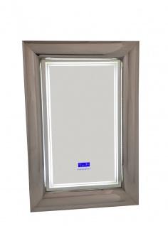 bhp LED Spiegel, Metallrahmen, 2 Lichtstufen, Display (Uhr, Temperatur, Bluetooth, Radio)