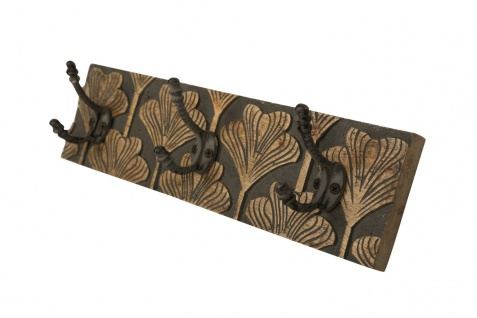 bhp Wandgarderobe aus Holz dunkelgrau gemustert mit 3 Metallhaken, Front naturfarben geschnitzt